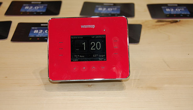 Warmup introduced its 3iE thermostat at its 2012 Kitchen and Bath Industry Show booth at Chicago's McCormick Place.