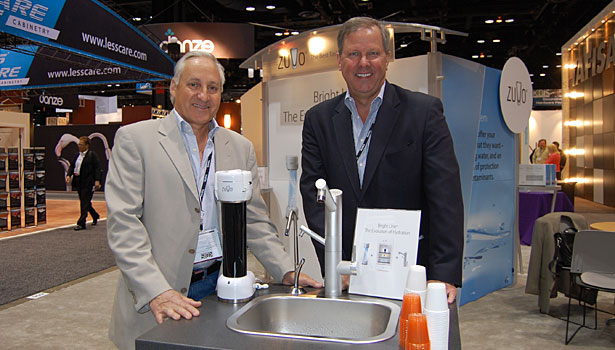 Zuvo Water's CEO Andy Butler and COO Ray Brown show off the filtration company's Bright Line filtration faucet.