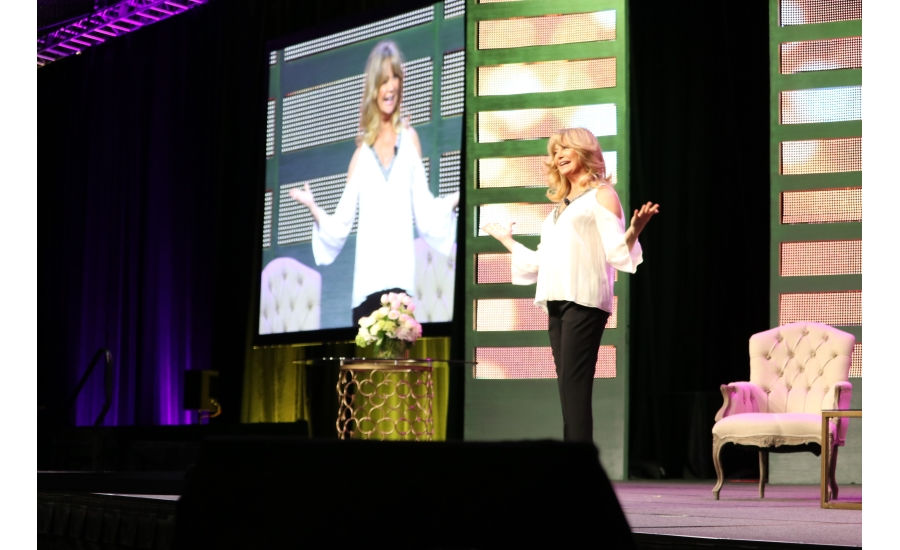 "Actress, author, and philanthropist Goldie Hawn takes the stage during ""A Morning with Goldie Hawn"" at MCAA 2017 in San Diego"