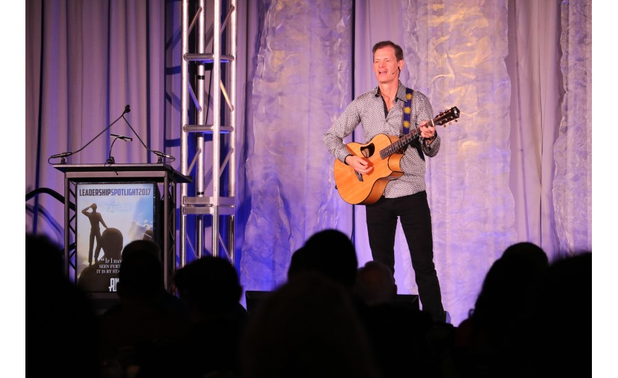 World-class virtuoso guitarist, comedian, and motivational speaker Mike Rayburn performs for attendees of Nexstar Network's Leadership Spotlight in Houston