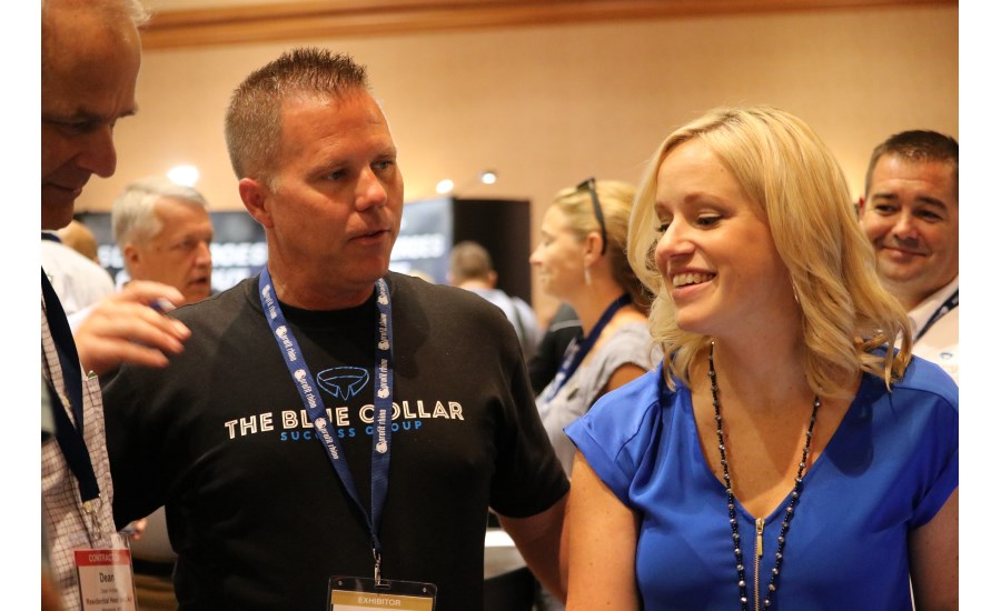 The Blue Collar Coach and PM columnist Kenny Chapman mingles with attendees of the 2017 Service World Expo during the event's Product Showcase