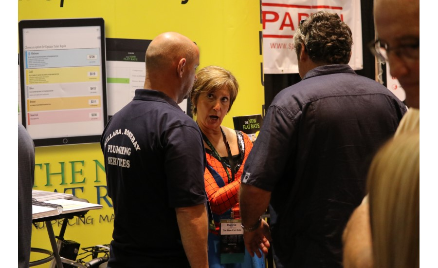 Attendees interact with vendors and other contractors during the Product Showcase at the 2017 Service World Expo in Las Vegas