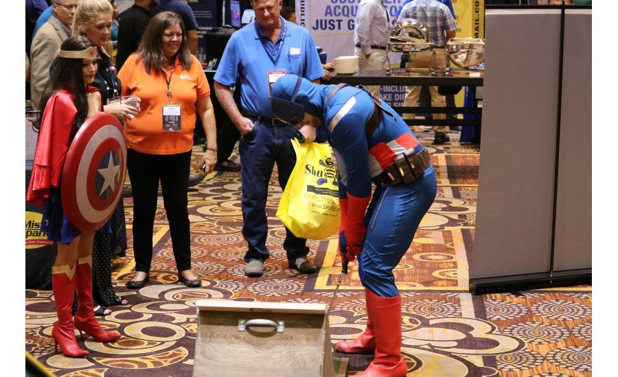The theme of the 2017 Service World Expo — superheroes — carries into the expo event as costumed characters roam the show floor