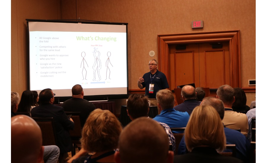 Dave Squires speaks to a group of contractors during a breakout session at the 2017 Service World Expo in Las Vegas.