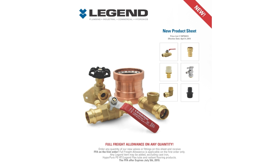 Legend Valve & Fittings' announces newest products offerings