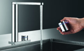 KWC lavatory touch-free faucet with wireless control