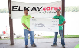 The donation was made at a river cleanup with employees from Elkayâ??s plant in Savanna, Ill., where the bottle filling stations are made.