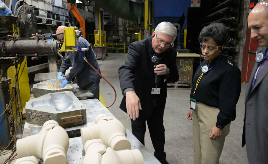 Adm. Michelle Howard, vice chief of Naval Operations, receives a tour of the Milwaukee Valve Company manufacturing plant in Prairie du Sac, Wis., Nov. 20.