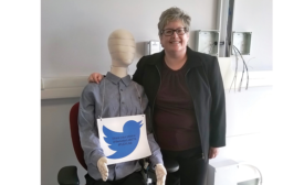 Plumbing & Mechanical Editor Kelly Faloon with one of the Center for the Built Environment's thermal manikins