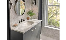 Delta Faucet Co.: Powder rooms; remodeling, universal design, aging-in-place, bathtub, toilet, shower, NKBA