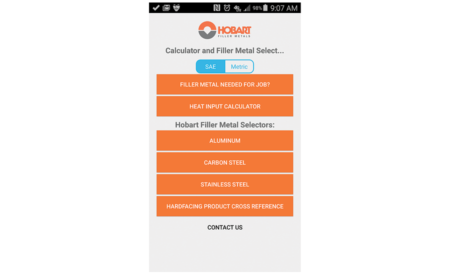 Hobart filler metal selector and calculator mobile app