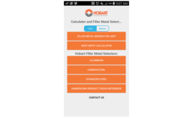 Hobart filler metal selector and calculator mobile app