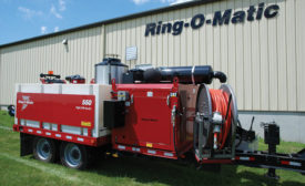 Ring-O-Matic sewer jet/vacuum; sewer cleaning, sewer line jetter, vacuum excavator
