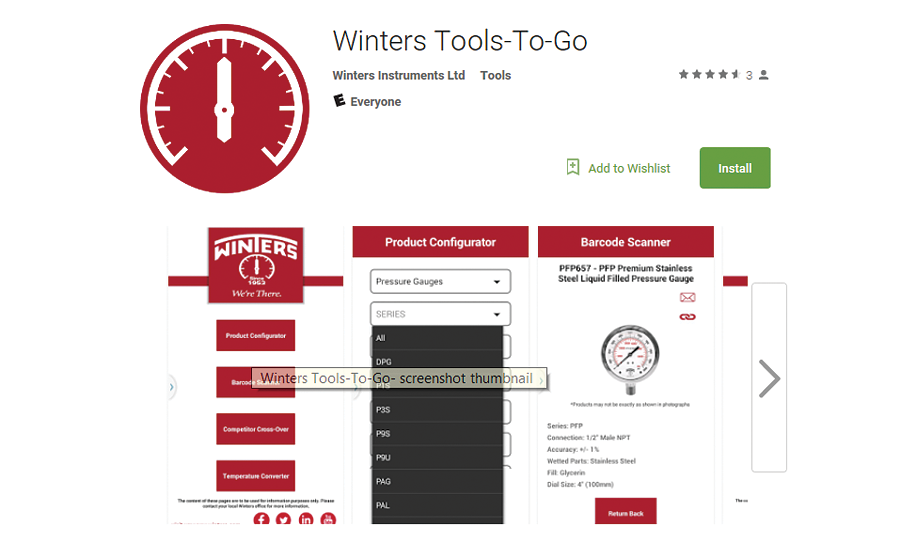 Winters measurement tools app