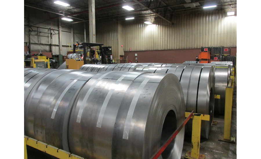 Rolls of steel at InSinkErator's Racine, Wis., plant