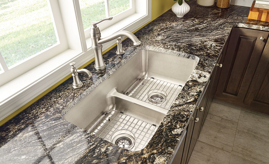 Delightful Moen Lower Center Divide Kitchen Sinks