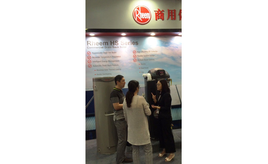 Rheem displays its water-heating products to visitors at ISH China/CIHE in Beijing.