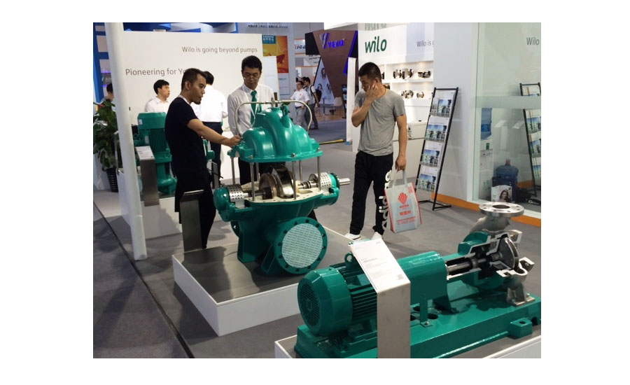 WILO displays its large pumps at ISH China/CIHE in Beijing.