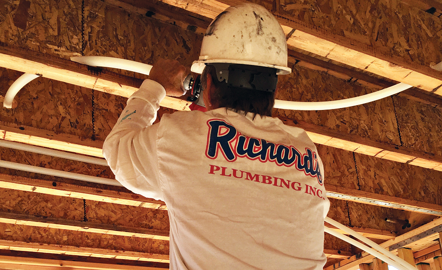 Richard's Plumbing installing Uponor AquaSAFE multipurpose residential fire sprinkler systems