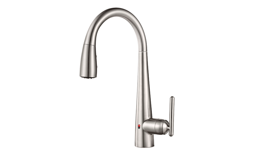 Pfister's Lita pulldown kitchen faucet features REACT touch-free technology.