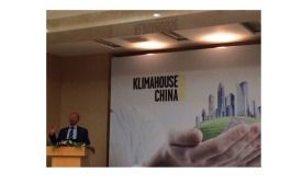 Italian architect Massimo Roj addresses the Klimahouse China Congress May 31 in Beijing.