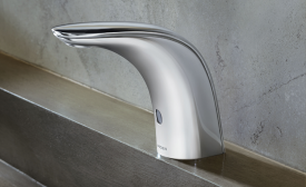 Moen Commercial's M•Power line of sensor-operated faucets includes modern and transitional-styled models.