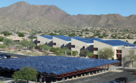 The school features 50,000 square feet of solar collector area