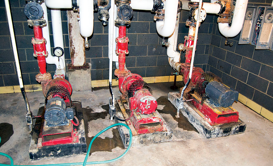 This set of hot water circulating pumps is inside a flooded boiler room