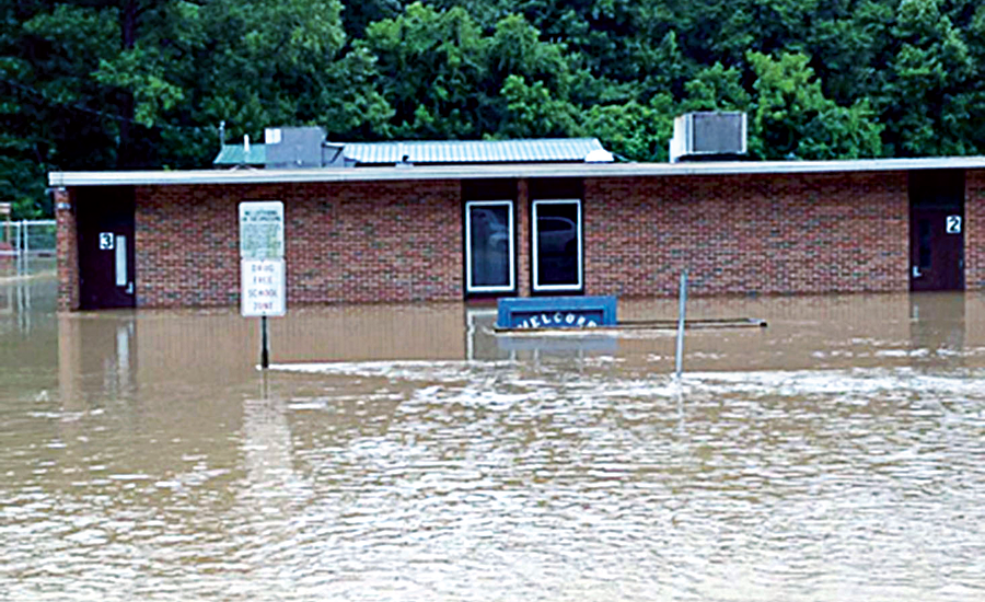 The entrance of one of the flooded schools for Kanawha County