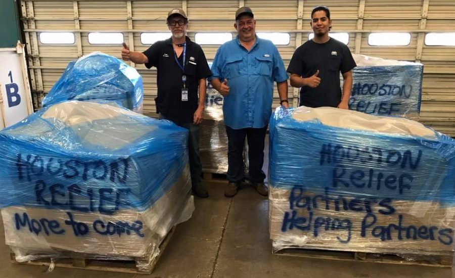 TDPartners load up donations to send to Houston. Photo credit: TDIndustries