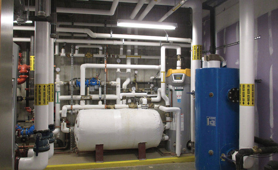 The insulated mechanical piping in the interior of the mechanical room appears white and glossy