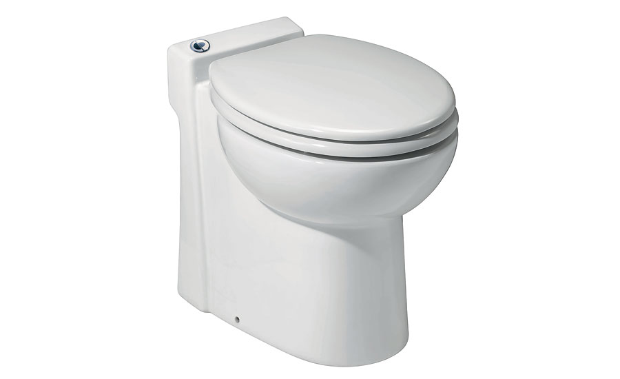 The SANICOMPACT toilet from Saniflo uses 38 percent less water per flush than a conventional toilet while its compact