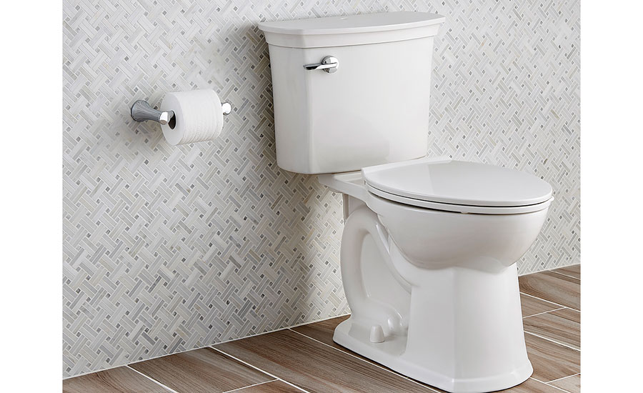 Classic design lines are highlighted in the high-efficiency ActiClean self-cleaning toilet from American Standard