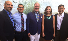 John Hazen White, Jr. poses with Taco Student Scholarship Award recipients