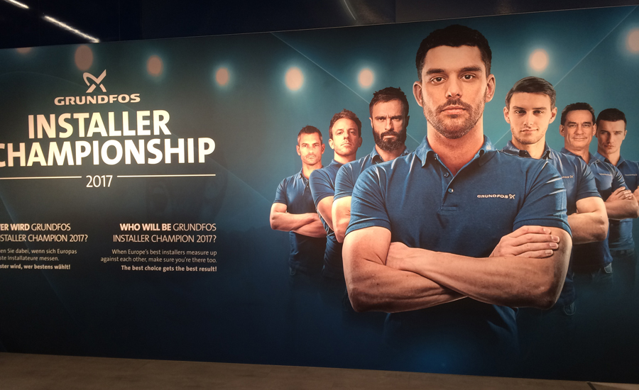 A poster promotes Grundfos' installers competition