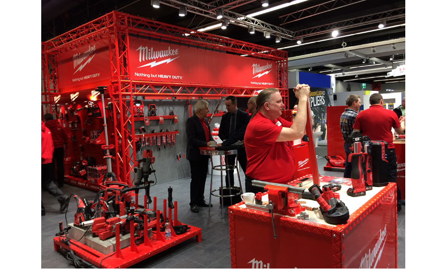 Milwaukee Tool displays a variety of its products in its booth at ISH.
