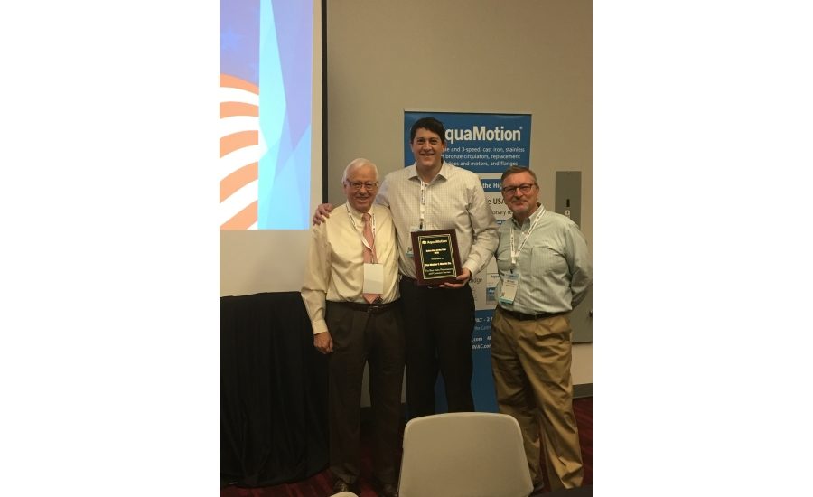 From left: AquaMotion President Hans Kuster poses with Walter F. Morris Co. Vice President Patrick McCarthy and AquaMotion Director of Product Development Michael McNamara. Photo credit: AquaMotion