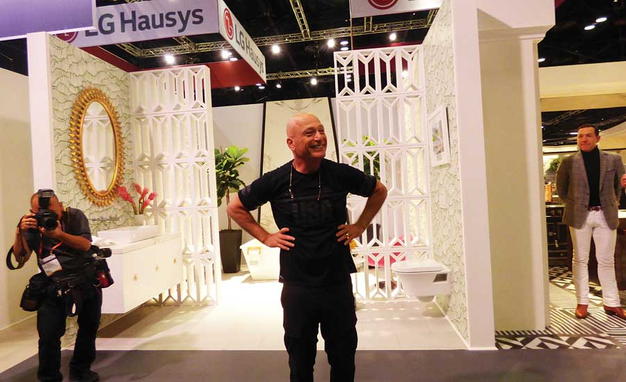 Howie Mandel, comedian and noted germophobe, talks at the LIXIL KBIS media tour about the American Standard ActiClean toilet that cleans itself