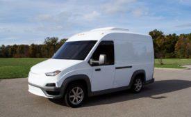 The electric N-Gen van has a lightweight composite body.