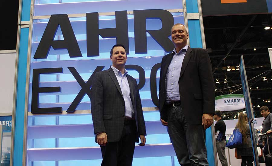 RIDGID's John Ruese (left) and Viega's Christian Geisthoff at the AHR Expo in Chicago