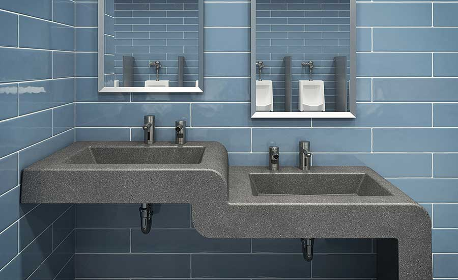 Multi-level handwashing stations pair adult-height sinks