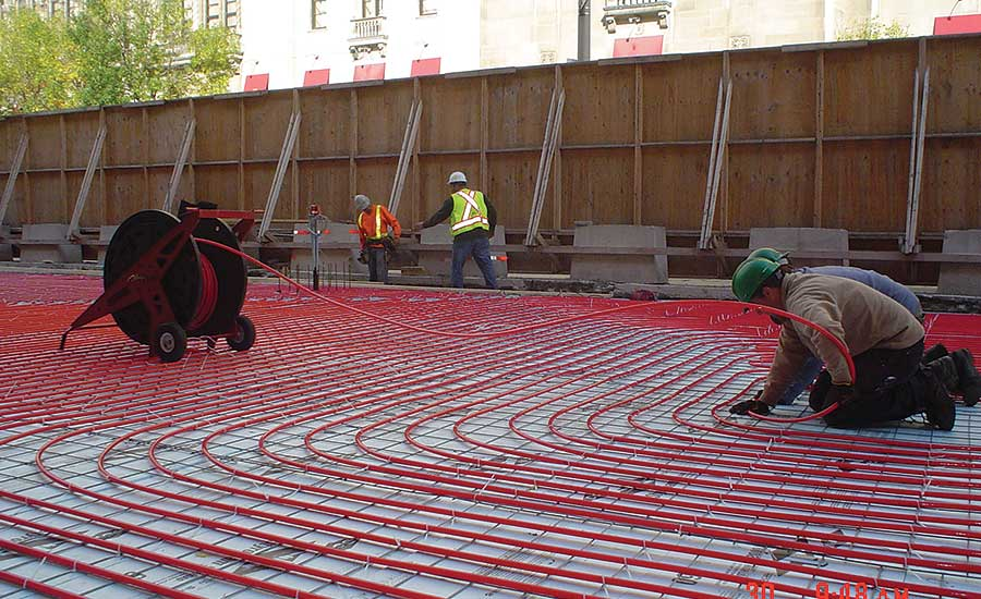 A REHAU snow- and ice-melting system is installed at Union Station in Toronto.