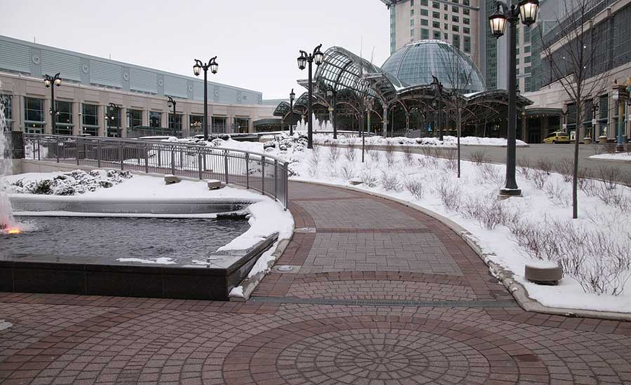 A REHAU snow- and ice-melting system clears pathways around the Fallsview Casino Resort in Niagara Falls, Ontario, Canada.