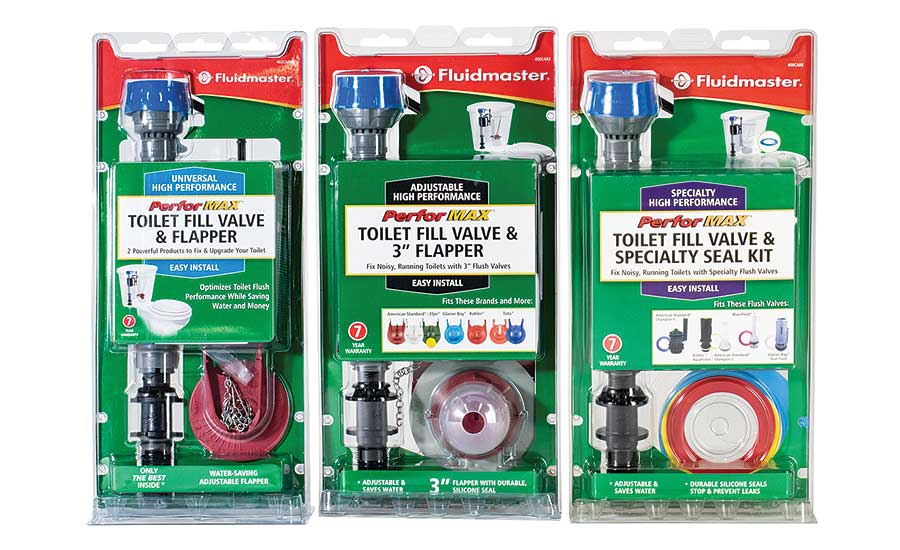 Fluidmaster's PerforMAX toilet fill valve and flapper kits