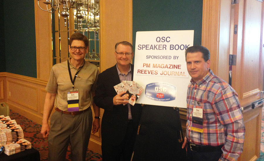 Author Tom Morrison (center) stands with Bob Miodonski and Dan Ashenden of Plumbing & Mechanical