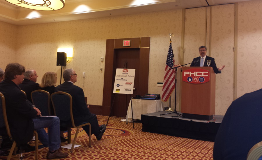 Stephen F. Hayes addresses the PHCC-NA members.