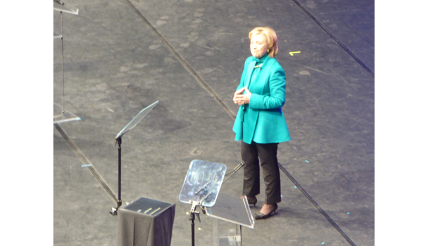 Hillary Clinton on the stage at Temple University's Liacouras Center