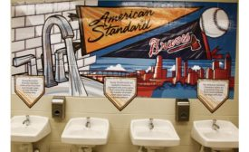 American Standard-branded restrooms feature Pillar tap metering faucets and Lucerne wall-mount sinks.