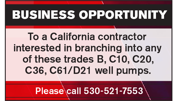 CALIFORNIA BUSINESS OPPORTUNITY