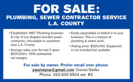 PLUMBING, SEWER CONTRACTOR SERVICE - L.A. COUNTY